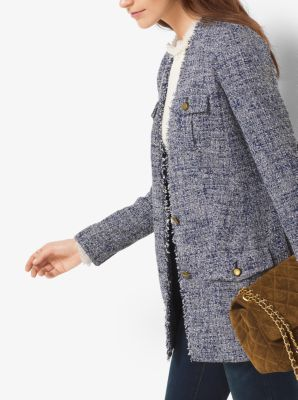 Fringed Tweed Blazer by Michael Kors