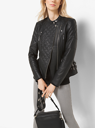 Quilted-Leather Motorcycle Jacket by Michael Kors