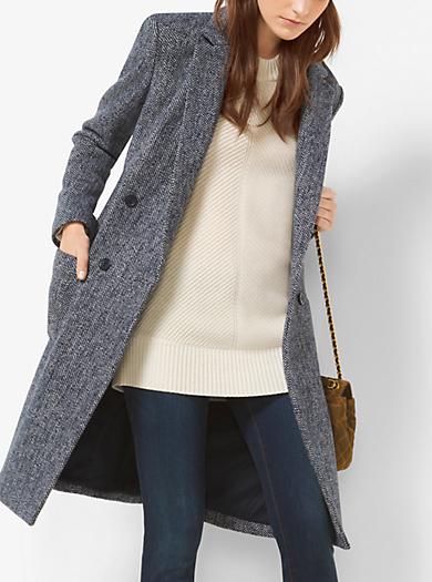 Double-Breasted Tweed Wool-Bouclé Coat by Michael Kors