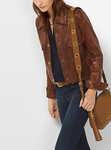 Shrunken Leather Jacket by Michael Kors