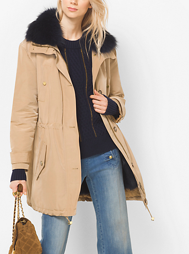 Fur-Trimmed Satin Anorak  by Michael Kors