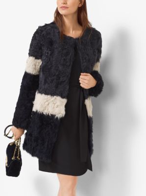 Color-Blocked Shearling Coat by Michael Kors