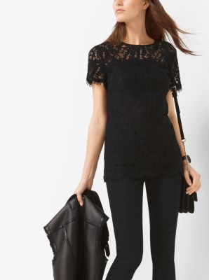 Short-Sleeved Lace Shirt by Michael Kors