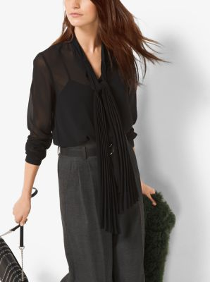 Pleated Chiffon Tie-Neck Blouse by Michael Kors