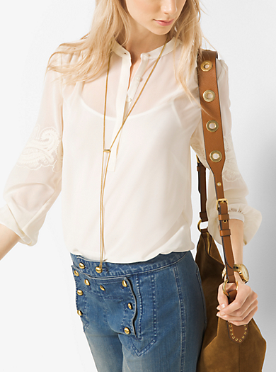 Lace-Embroidered Chiffon Henley         by Michael Kors