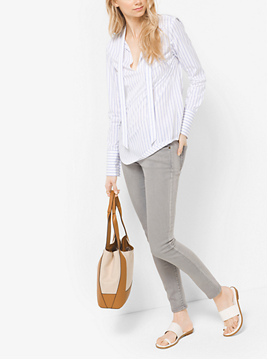 Striped Tie-Neck Blouse by Michael Kors
