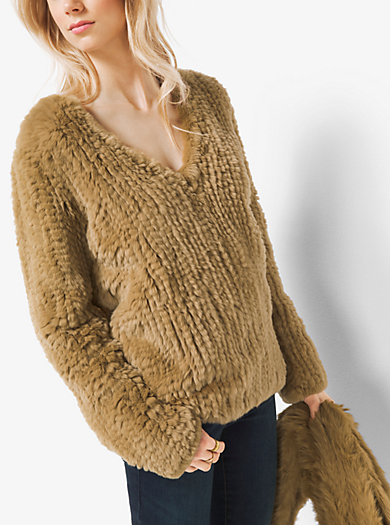 Fur V-Neck Sweater by Michael Kors