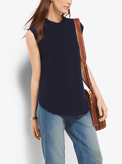 Ribbed Merino Wool-Blend Funnel Neck Top by Michael Kors