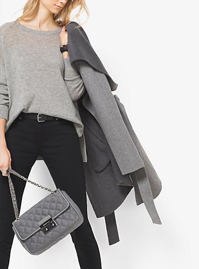 Pullover in misto cashmere e lana merino con pannello in rete by Michael Kors