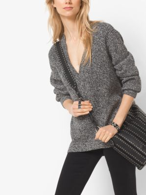 Marled Wool-Blend V-Neck Sweater by Michael Kors