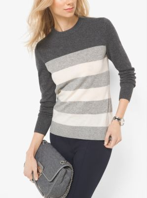 Striped Wool and Cashmere Sweater by Michael Kors