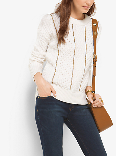 Chain-Trim Merino Wool and Cashmere Jumper by Michael Kors