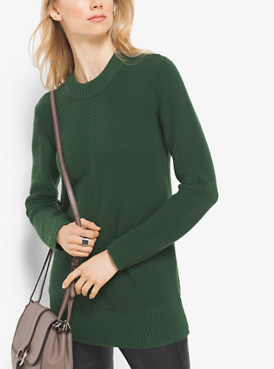 Ribbed Merino Wool and Cashmere Jumper by Michael Kors