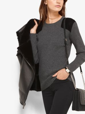 Velvet-Patch Ribbed Sweater by Michael Kors