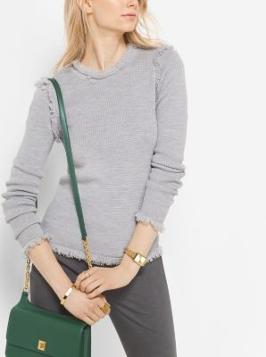 Fringed Merino Wool Sweater by Michael Kors