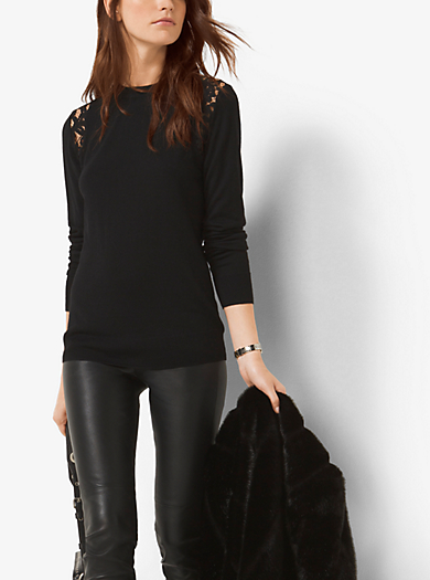 Lace-Panel Stretch-Viscose Sweater by Michael Kors