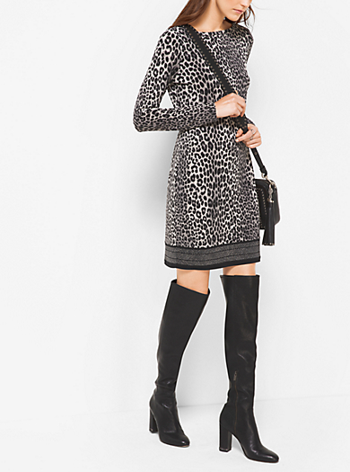 Abito in jersey opaco con stampa animalier by Michael Kors