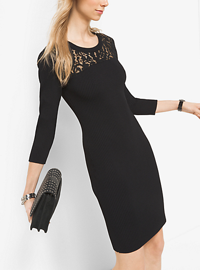 Lace Ribbed Viscose and Nylon Dress by Michael Kors
