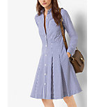 Striped Cotton-Poplin Shirtdress