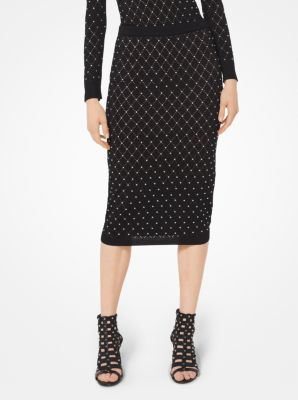 마이클 마이클 코어스 Michael Michael Kors Argyle Studded Stretch-Knit Pencil Skirt,BLACK/SILVER