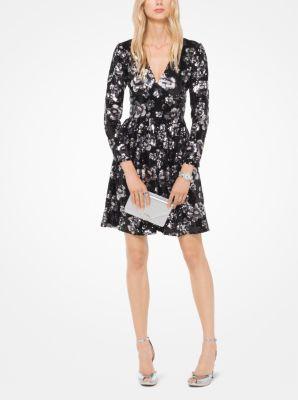 마이클 마이클 코어스 꽃무늬 시퀸 원피스 - 블랙/실버 Michael Michael Kors Floral Sequined Dress,BLACK/SILVER