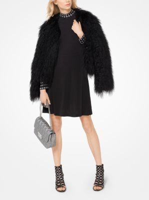 마이클 마이클 코어스 그로밋 매트 저지 원피스 - 블랙 Michael Michael Kors Grommeted Matte-Jersey Dress,BLACK