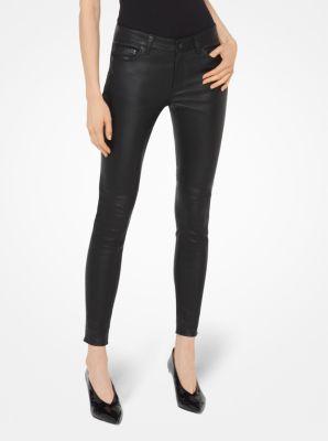 마이클 마이클 코어스 스키니 진 Michael Michael Kors Selma Leather Skinny Pants,BLACK