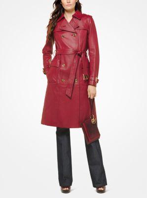마이클 마이클 코어스 Michael Michael Kors Leather Trench Coat,MAROON