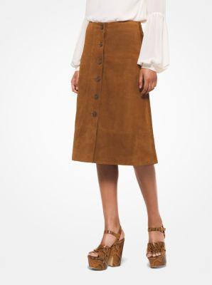 마이클 마이클 코어스 Michael Michael Kors Suede Button-Front Skirt,ACORN