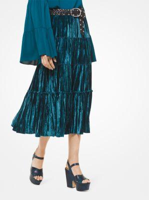마이클 마이클 코어스 Michael Michael Kors Tiered Velvet Skirt,LUXE TEAL