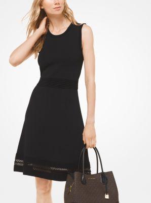 마이클 마이클 코어스 Michael Michael Kors Textured Stretch-Viscose Dress,BLACK