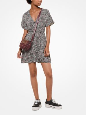 마이클 코어스 랩 원피스 블랙/마룬 Michael Kors Botanical Matte-Jersey Wrap Dress,BLACK/MAROON