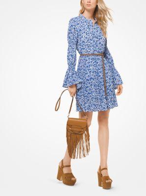 마이클 코어스 꽃무늬 셔츠 원피스 화이트/블루 Michael Kors Floral Crepe Shirtdress,WHITE/RADIANT BLUE
