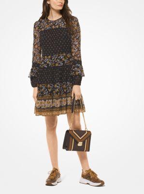 마이클 마이클 코어스 믹스드 보테니칼 프린트 조젯 원피스 - 블랙/마리골드 Michael Michael Kors Mixed Botanical Print Georgette Dress,BLACK/MARIGOLD
