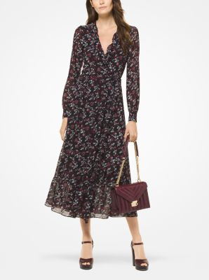 마이클 코어스 랩 원피스 블랙/마룬 Michael Botanical Georgette Wrap Dress,BLACK/MAROON