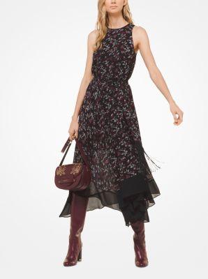 마이클 마이클 코어스 보태니컬 조젯 드레스 (이나영, 아이린 착용 원피스) 블랙/마룬 Michael Michael Kors Botanical Georgette Handkerchief Dress,BLACK/MAROON