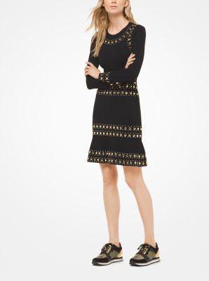 마이클 마이클 코어스 Michael Michael Kors Studded Stripe Dress,BLACK/GOLD