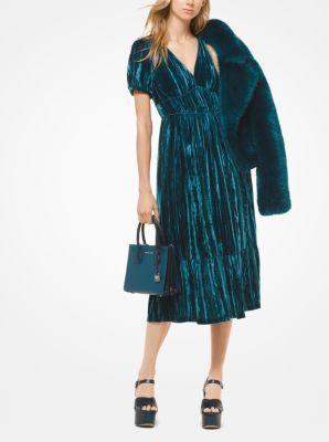 마이클 마이클 코어스 Michael Michael Kors Tiered Velvet Dress,LUXE TEAL