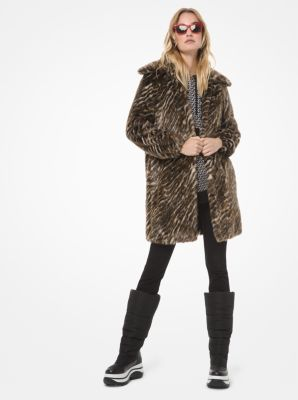 마이클 마이클 코어스 Michael Michael Kors Safari Faux Fur Coat,DARK CAMEL