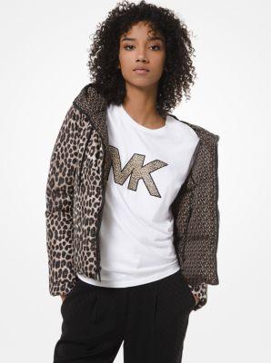 마이클 마이클 코어스 Michael Michael Kors Reversible Leopard and Logo Quilted Puffer Jacket,DARK CAMEL