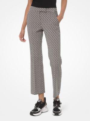 마이클 마이클 코어스 크롭 바지 Michael Michael Kors Mini Logo Stretch Crepe Cropped Trousers,BONE/BLACK