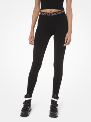 마이클 마이클 코어스 Michael Michael Kors Logo-Trim Stretch-Viscose Leggings,BLACK