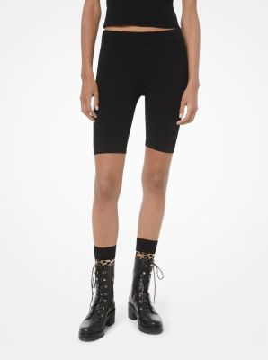 마이클 마이클 코어스 Michael Michael Kors Stretch-Viscose Biker Shorts,BLACK