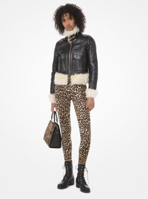 마이클 마이클 코어스 Michael Michael Kors Leopard Stretch-Viscose Jacquard Leggings,DARK CAMEL