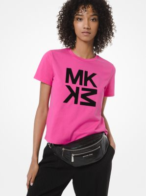 마이클 마이클 코어스 Michael Michael Kors Logo Cotton-Jersey T-Shirt,ELECTRIC PINK