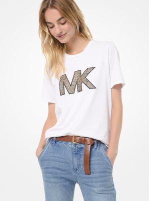 마이클 마이클 코어스 반팔티 Michael Michael Kors Leopard-Print Logo Cotton-Jersey T-Shirt,WHITE
