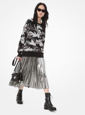 마이클 마이클 코어스 Michael Michael Kors Metallic Camouflage Jacquard Sweater,GUNMETAL