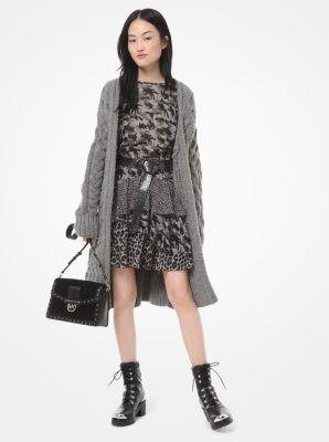 마이클 마이클 코어스 Michael Michael Kors Oversized Cable-Knit Wool-Blend Cardigan,GUNMETAL