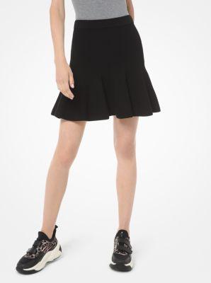 마이클 마이클 코어스 Michael Michael Kors Viscose and Nylon Flounce Skirt,BLACK