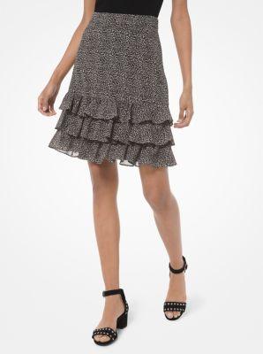 마이클 마이클 코어스 Michael Michael Kors Mini Leopard Georgette Ruffled Skirt,GUNMETAL